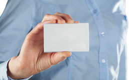 Woman showing blank business card Stock Photos