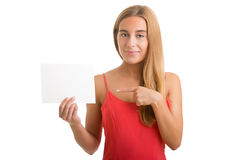 Woman Showing Blank Card Royalty Free Stock Image