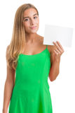 Woman Showing Blank Card Royalty Free Stock Photo