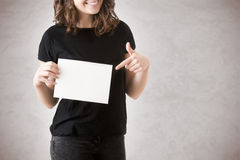 Woman Showing Blank Card Royalty Free Stock Photography