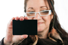 Woman Showing Blank Credit Card Stock Photo