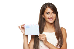 Woman showing blank envelope Royalty Free Stock Images
