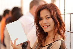 Woman showing blank page Stock Photos