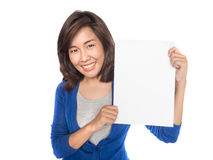 Woman showing blank paper. Royalty Free Stock Photos