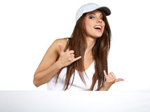 Woman showing blank sign board. Royalty Free Stock Image