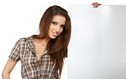 Woman showing blank signboard Stock Photos