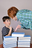Woman showing books to a young boy stock image