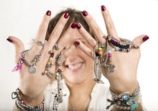 Woman showing bracelets and rings Stock Photo