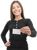 Woman showing business card Stock Image