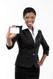 Woman showing business card Royalty Free Stock Photography