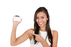 Woman showing business card. Stock Photo
