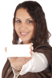 Woman showing card Stock Images