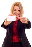 Woman showing card Stock Photos
