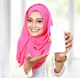 Woman showing cell phone Stock Photos