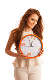 Woman showing a clock as a sign of  time management Stock Photography