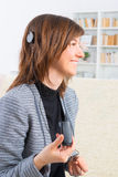 Woman showing cochlear implant stock photography