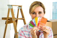 woman showing color samples Stock Photo