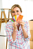 woman showing color samples Stock Image
