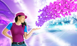 Woman showing a colorful bubbles explosion Stock Photography