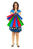 Woman showing colorful shopping bags Royalty Free Stock Image