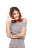 Woman showing contact us, call us, faq, helpline service line. Hand sign on white isolated background Stock Photography