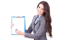 Woman showing a contract to sign. Young business woman showing a contract to sign. Isolated over white stock images