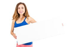Woman showing copy space Stock Images
