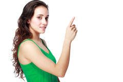 Woman showing copyspace Royalty Free Stock Photography