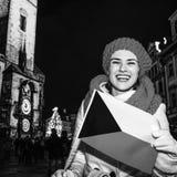 Woman showing Czech flag on Staromestske namesti in Prague Royalty Free Stock Photos