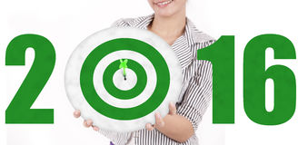 Woman showing dartboard with numbers 2016 Royalty Free Stock Photography