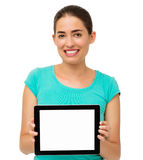 Woman Showing Digital Tablet Over White Background Stock Photo