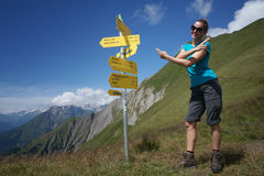 Woman showing directions Stock Images