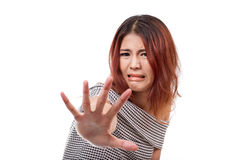 Woman showing disgusting emotion and showing stop, reject, refus Royalty Free Stock Photo