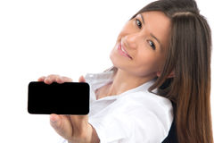 Woman Showing display mobile cell phone Stock Image
