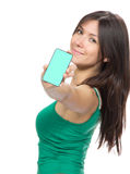 Woman Showing display mobile cell phone Stock Photography