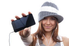 Woman Showing display new  mobile cell phone Royalty Free Stock Photography