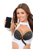 Woman Showing display of new touch mobile phone Royalty Free Stock Images