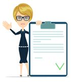Woman showing a Document in Which All Approved Royalty Free Stock Images