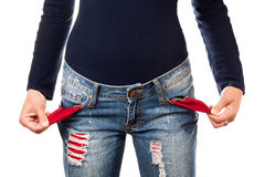 Woman showing empty pocket. Stock Image