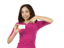 Woman showing empty sign card Royalty Free Stock Images