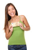 Woman showing euro money Royalty Free Stock Photo