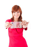 Woman showing Euros currency notes Royalty Free Stock Photos