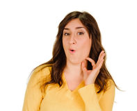 Woman showing fingers on her throat. Drink Royalty Free Stock Photography