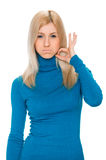 Woman showing fingers on her throat. Drink Royalty Free Stock Images