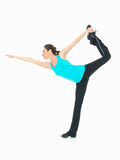 Woman showing fitness routine, white background Royalty Free Stock Photo