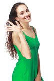Woman showing five fingers Stock Image