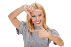 Woman showing frame finger sign Royalty Free Stock Image