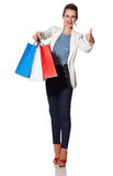 Woman showing French flag colours shopping bags and thumbs up Royalty Free Stock Photo