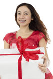 Woman showing a gift package Stock Photo