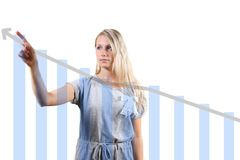woman showing a graph Royalty Free Stock Image